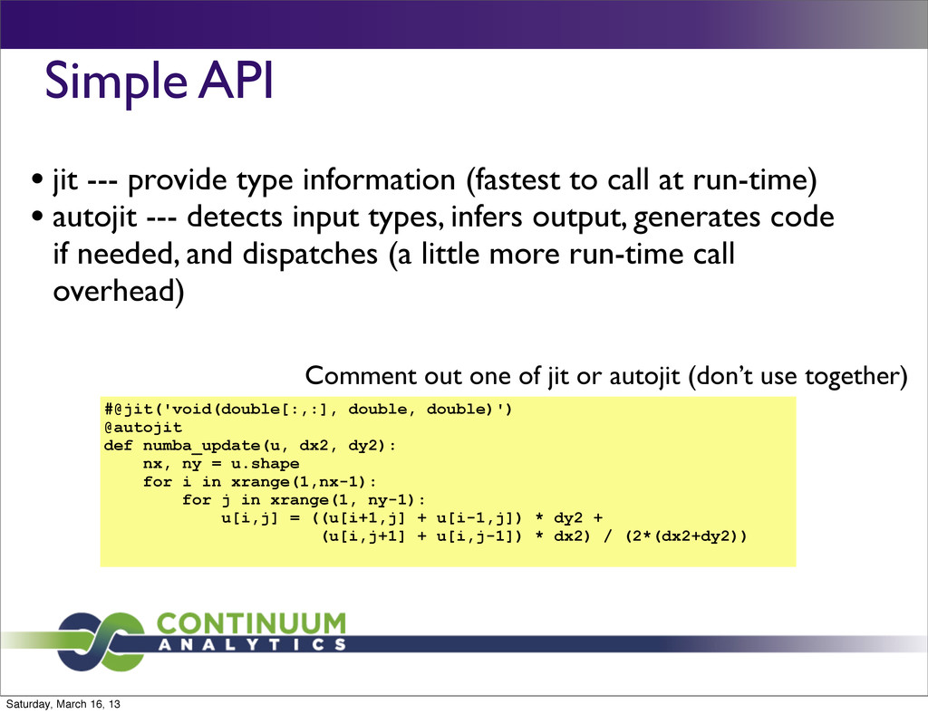 Simple API  • jit --- provide type informatio...