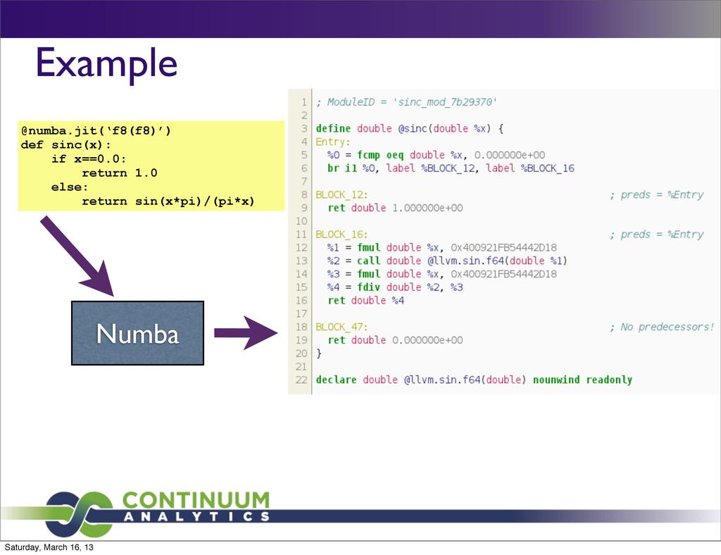Example @numba.jit('f8(f8)') def sinc(x): if x=...