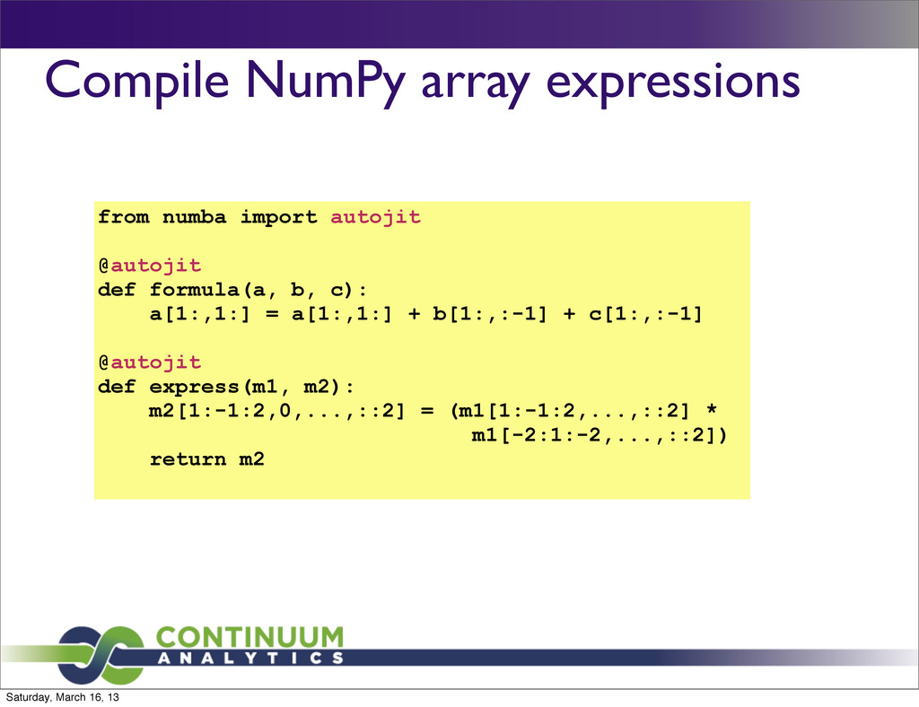 Compile NumPy array expressions from numba impo...