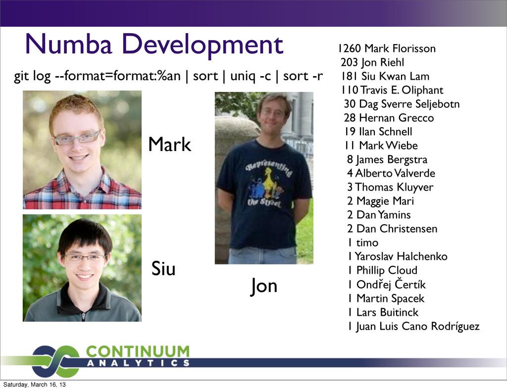 Numba Development 1260 Mark Florisson 203 Jon R...