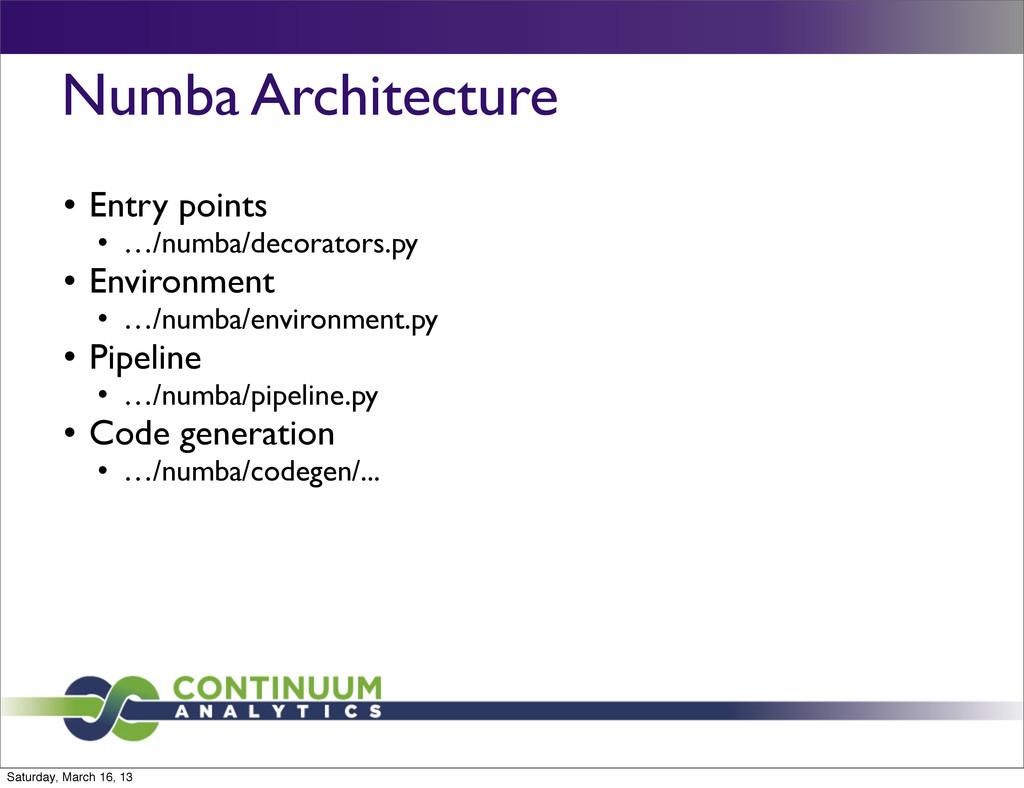 Numba Architecture l Entry points l …/numba/d...