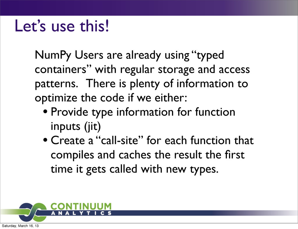 """Let's use this! NumPy Users are already using """"..."""