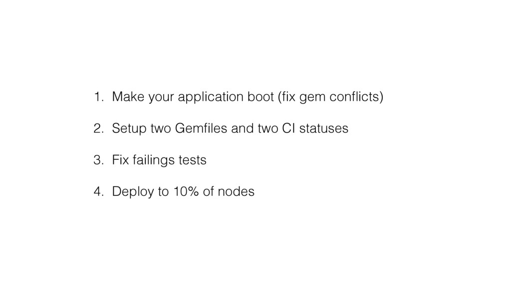 1. Make your application boot (fix gem conflicts)...