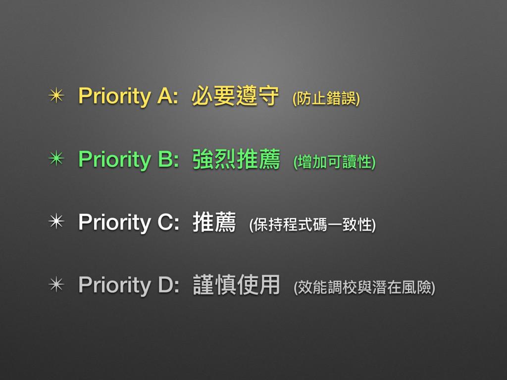 ✴ Priority A: 必要遵守 (防⽌止錯誤) ✴ Priority B: 強烈推薦 (...