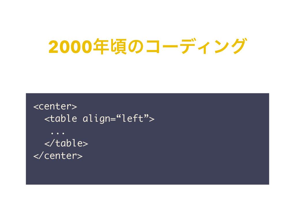 """2000ࠒͷίʔσΟϯά <center> <table align=""""left""""> ......"""