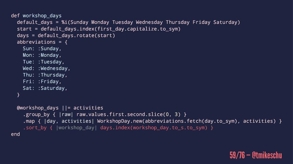 def workshop_days default_days = %i(Sunday Mond...