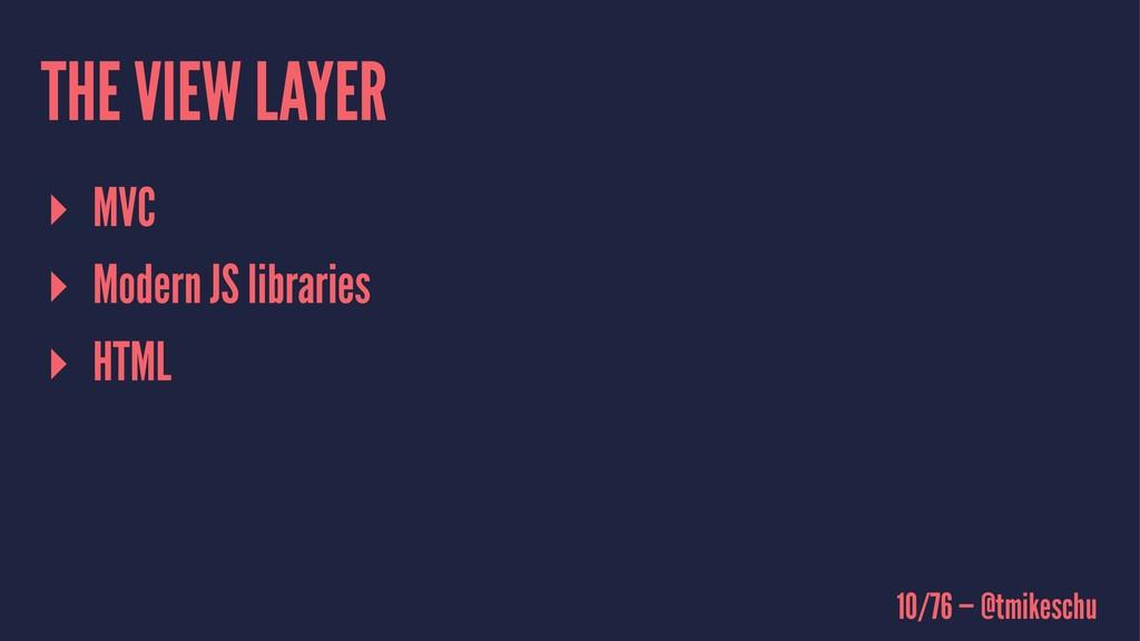 THE VIEW LAYER ▸ MVC ▸ Modern JS libraries ▸ HT...