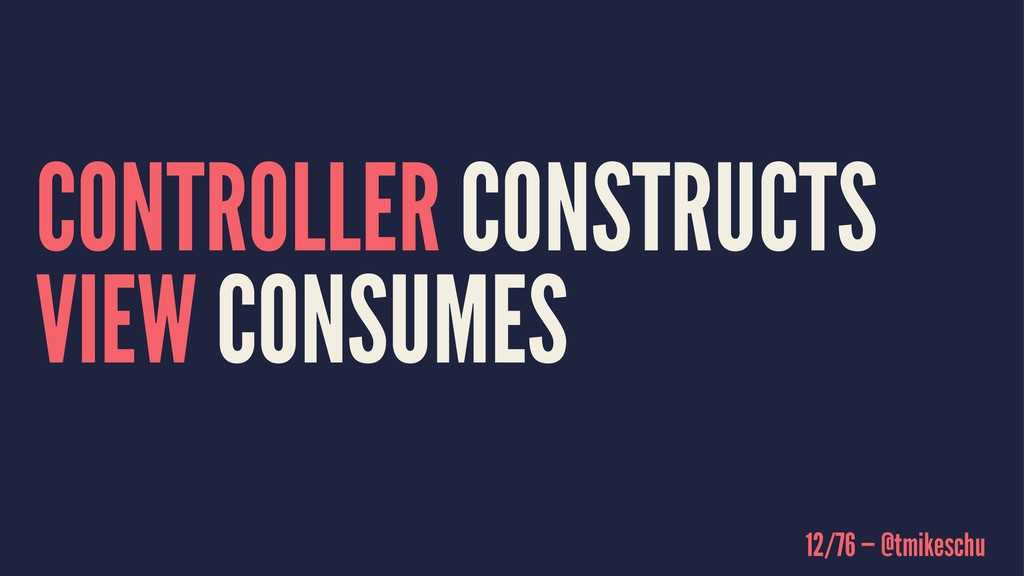CONTROLLER CONSTRUCTS VIEW CONSUMES 12/76 — @tm...