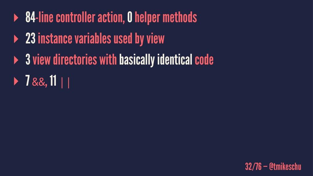 ▸ 84-line controller action, 0 helper methods ▸...