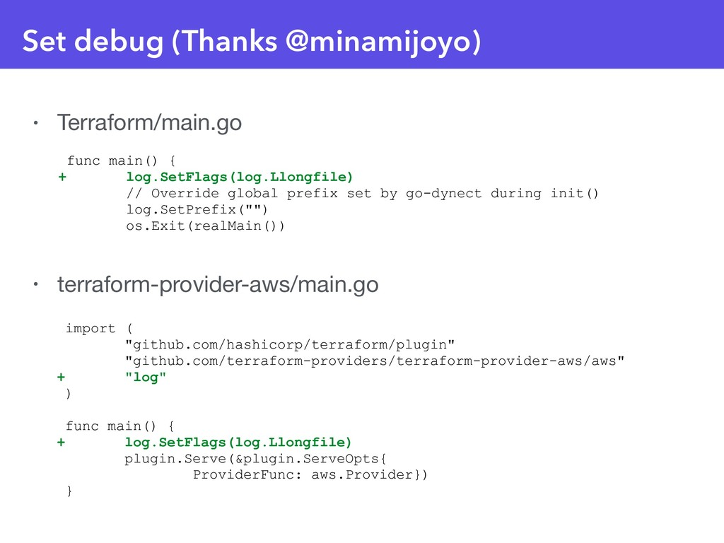 Set debug (Thanks @minamijoyo) • Terraform/main...