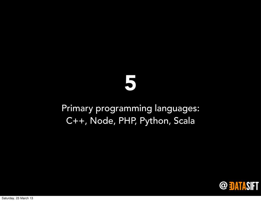 @ 5 Primary programming languages: C++, Node, P...