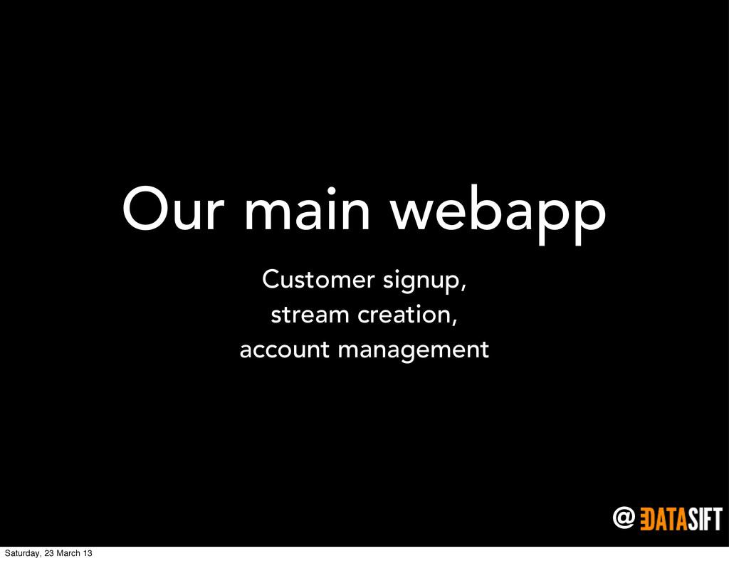 @ Our main webapp Customer signup, stream creat...