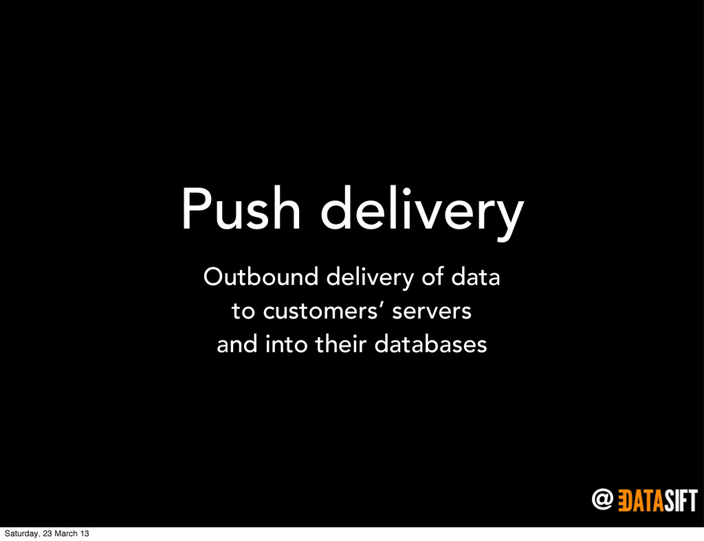 @ Push delivery Outbound delivery of data to cu...