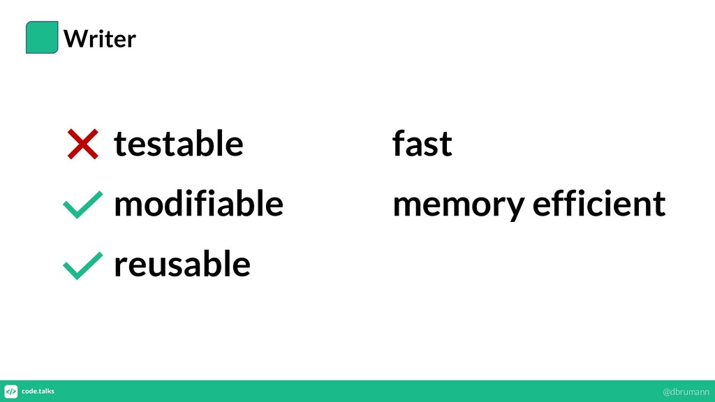 Writer testable modifiable reusable fast memory...