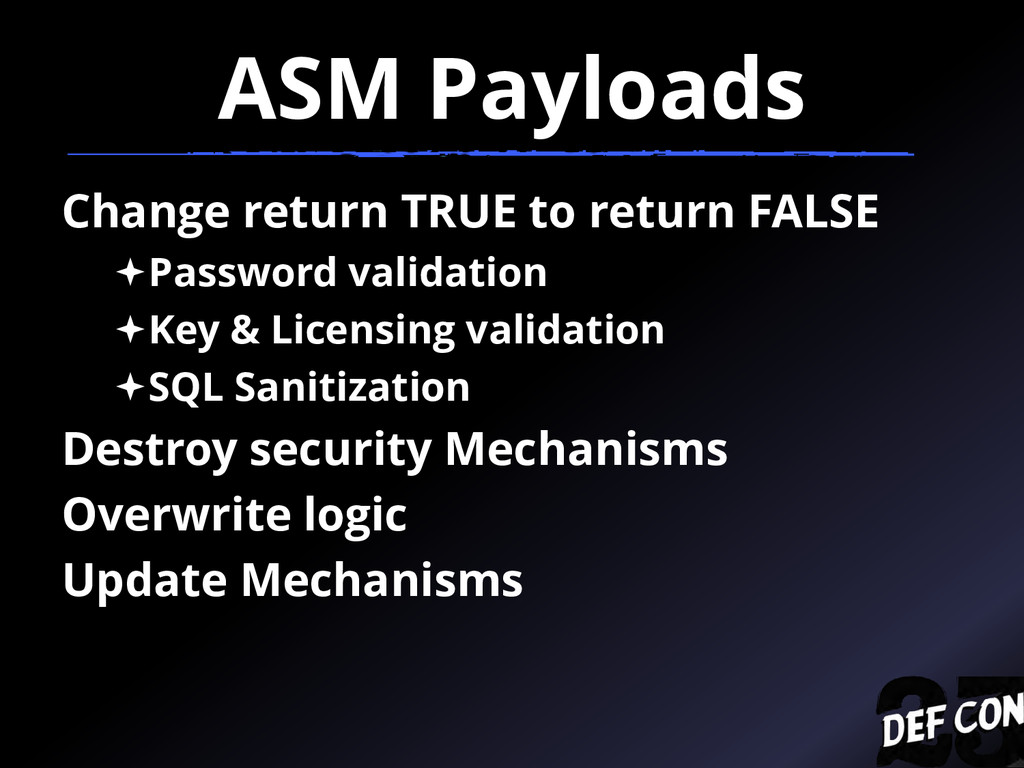 ASM Payloads Change return TRUE to return FALSE...