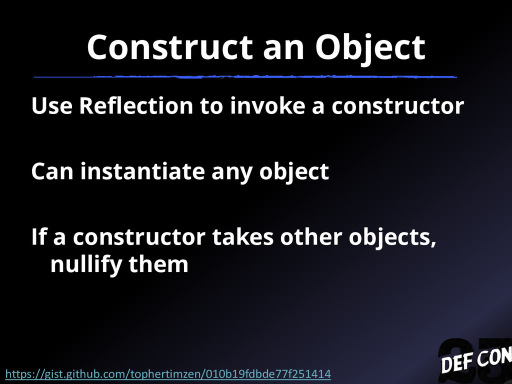 Construct an Object Use Reflection to invoke a ...