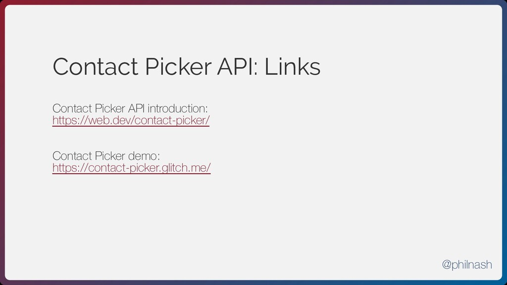 Contact Picker API: Links Contact Picker API in...
