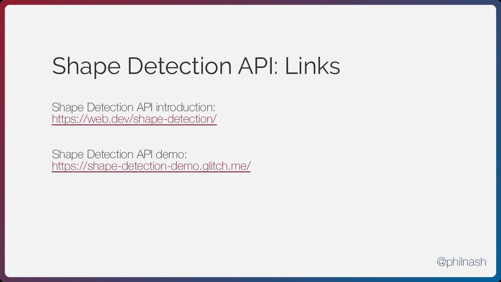 Shape Detection API: Links Shape Detection API ...