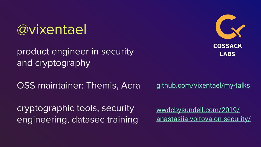 @vixentael product engineer in security and cry...