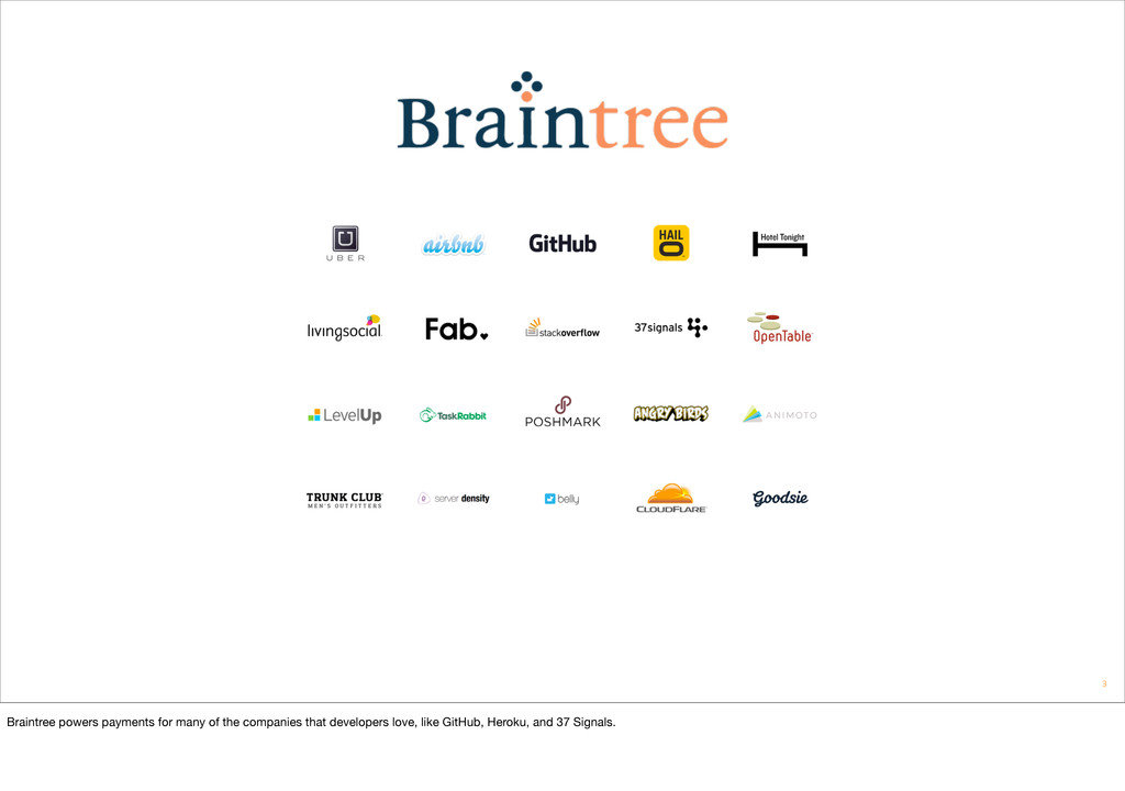 3 Braintree powers payments for many of the com...