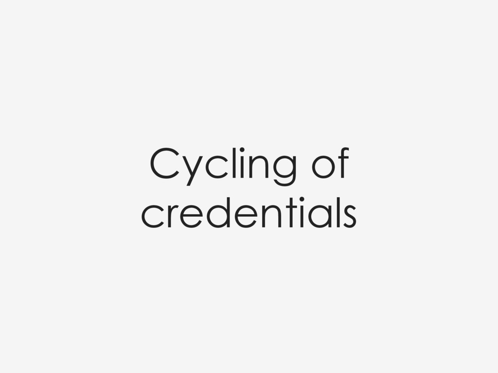 Cycling of credentials