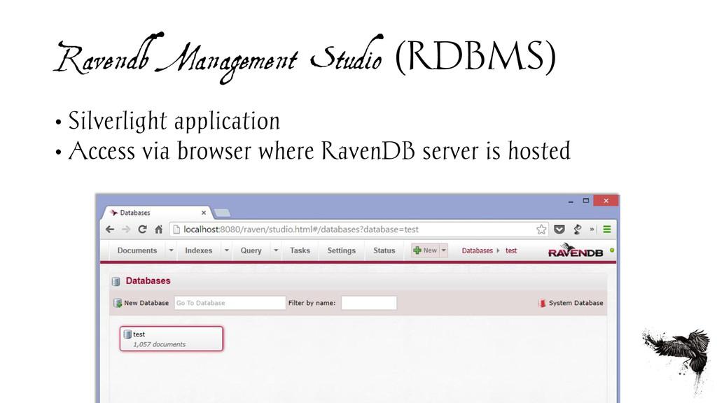 Ravendb Management Studio (RDBMS) • Silverlight...