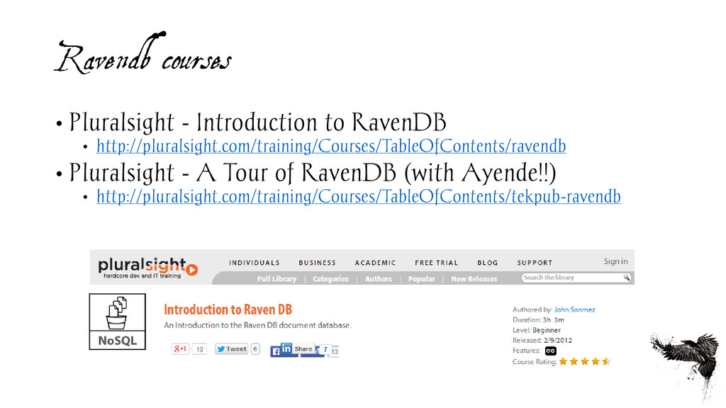 Ravendb courses • Pluralsight - Introduction to...