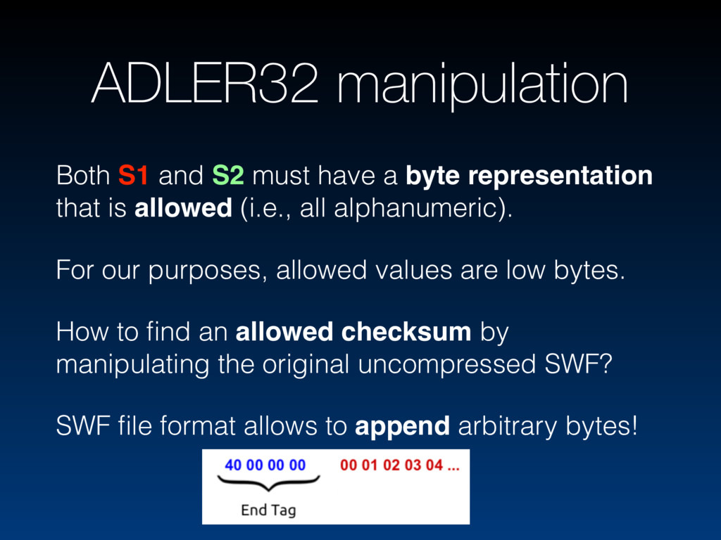 ADLER32 manipulation Both S1 and S2 must have a...