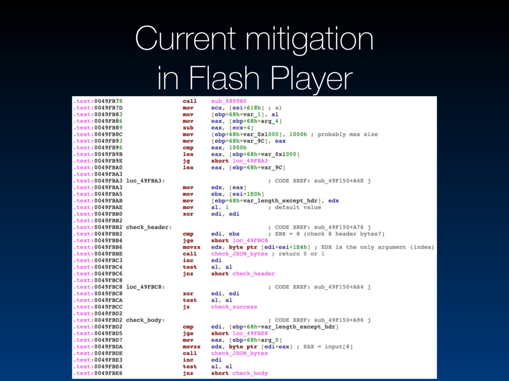 Current mitigation in Flash Player