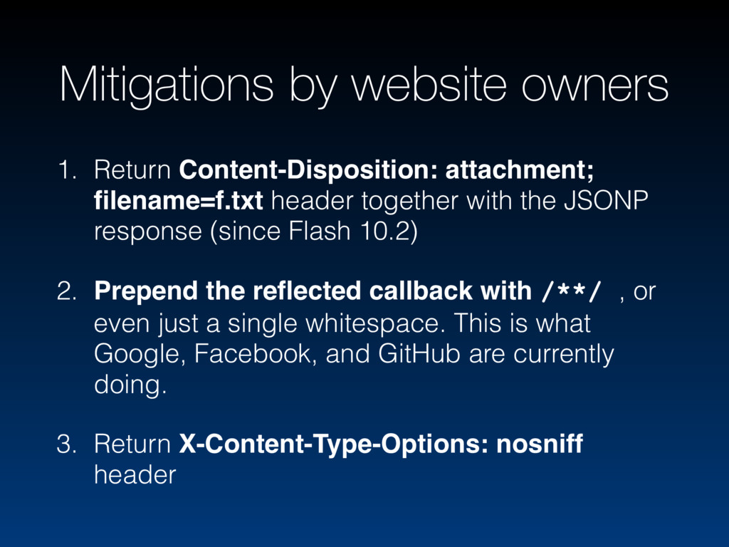 Mitigations by website owners 1. Return Content...