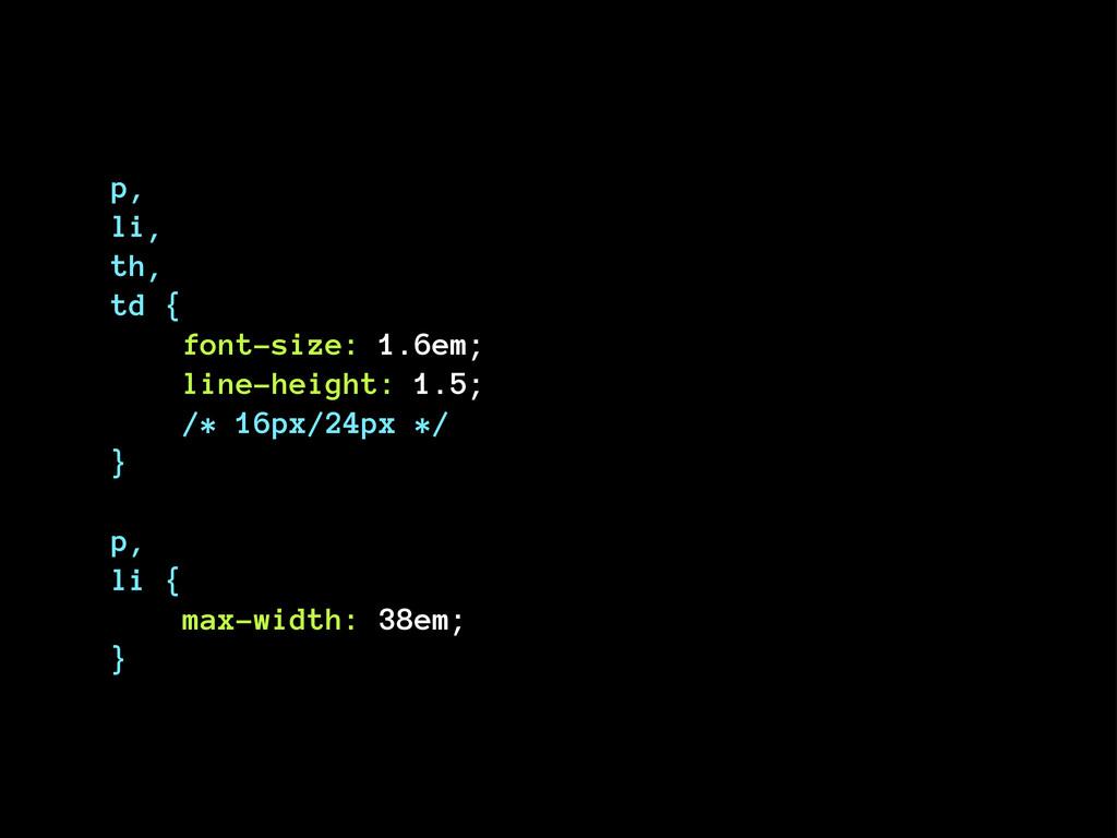 p, li, th, td { font-size: 1.6em; line-height: ...