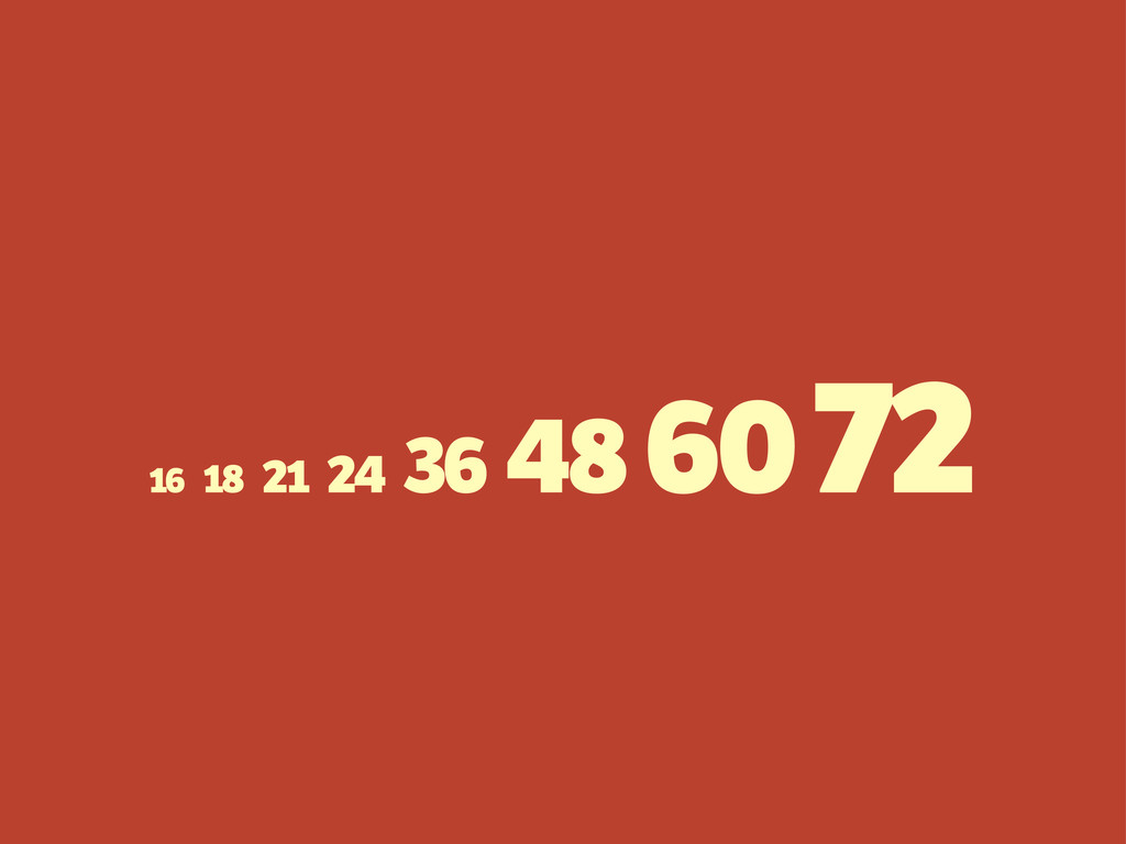 16 18 21 24 36 48 60 72