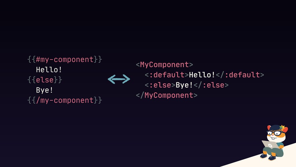 {{#my-component}}  Hello!  {{else}}  Bye!  {{/m...