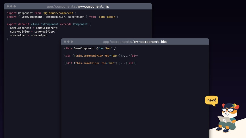 import Component from '@glimmer/component';  ex...