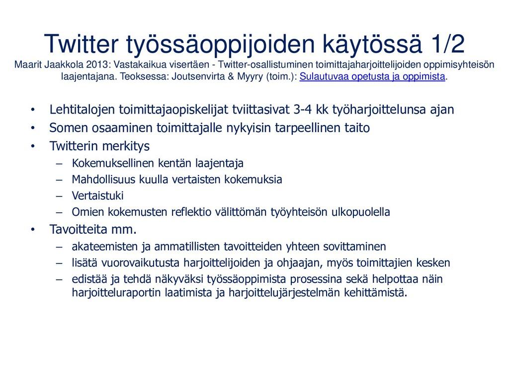 Opetusalan Twitter-chatteja #lrnchat (englannik...