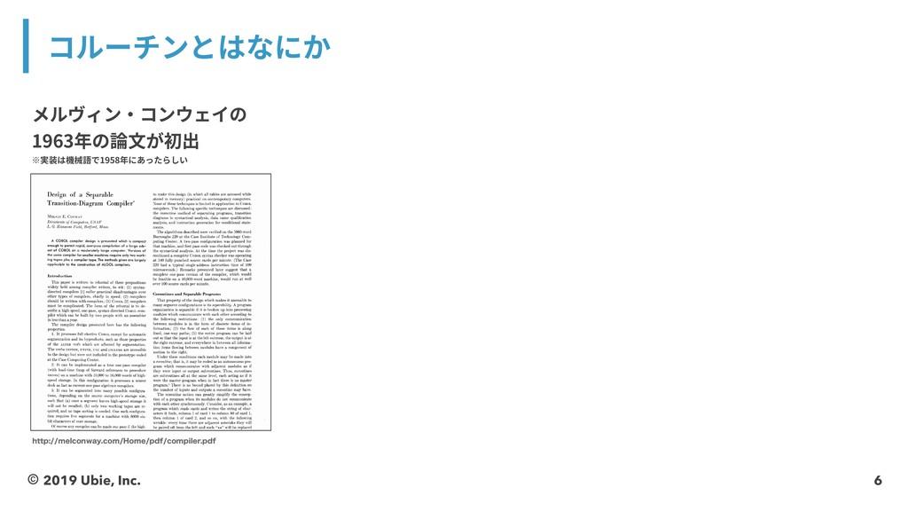 6 コルーチンとはなにか メルヴィン・コンウェイの 1963年の論⽂が初出 ※実装は機械語で1...