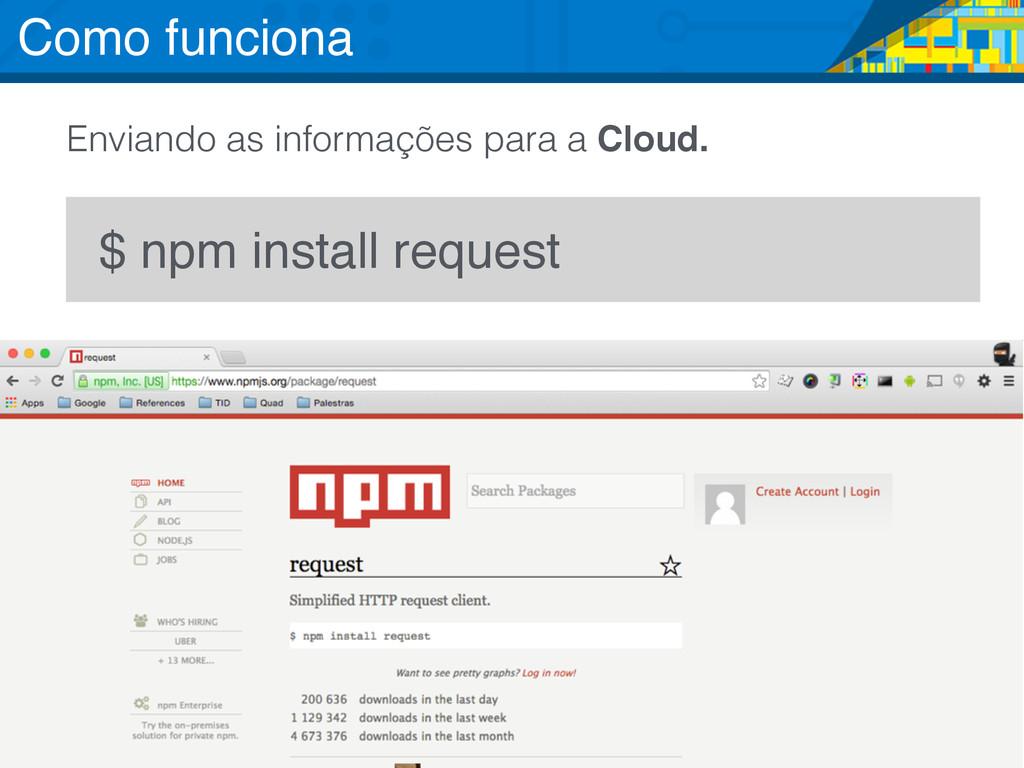 $ npm install request Enviando as informações p...