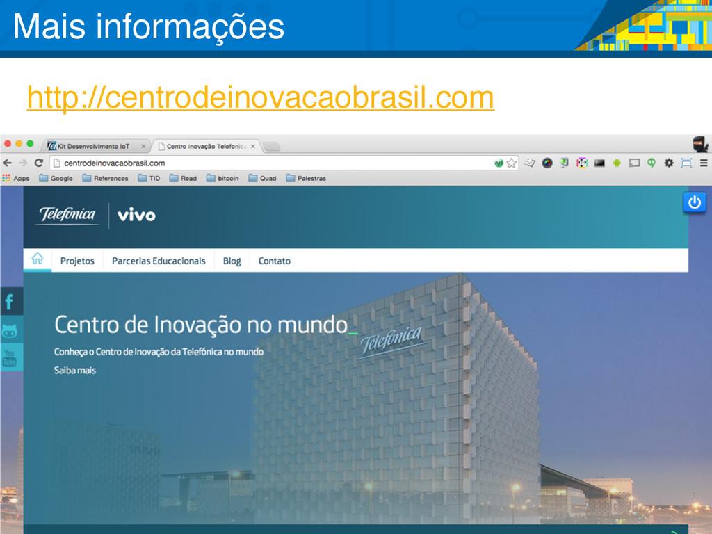 http://centrodeinovacaobrasil.com Mais informaç...