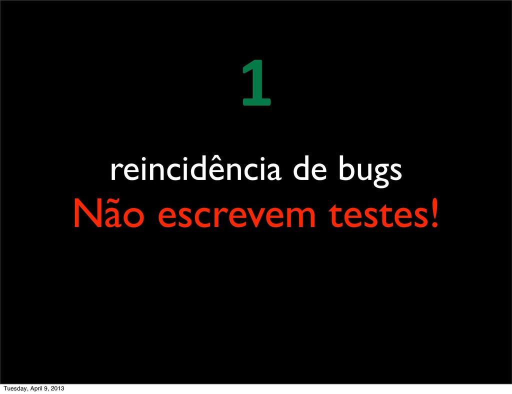 reincidência de bugs Não escrevem testes! 1 Tue...