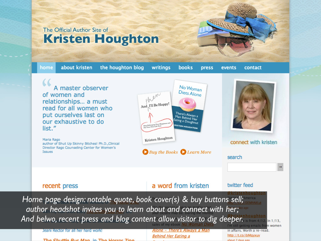 Home page design: notable quote, book cover(s) ...