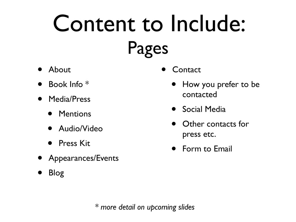 Content to Include: Pages • About • Book Info *...