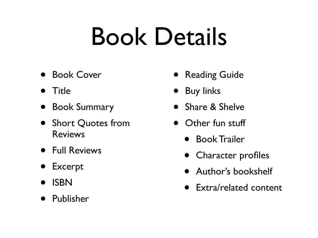 Book Details • Book Cover • Title • Book Summar...