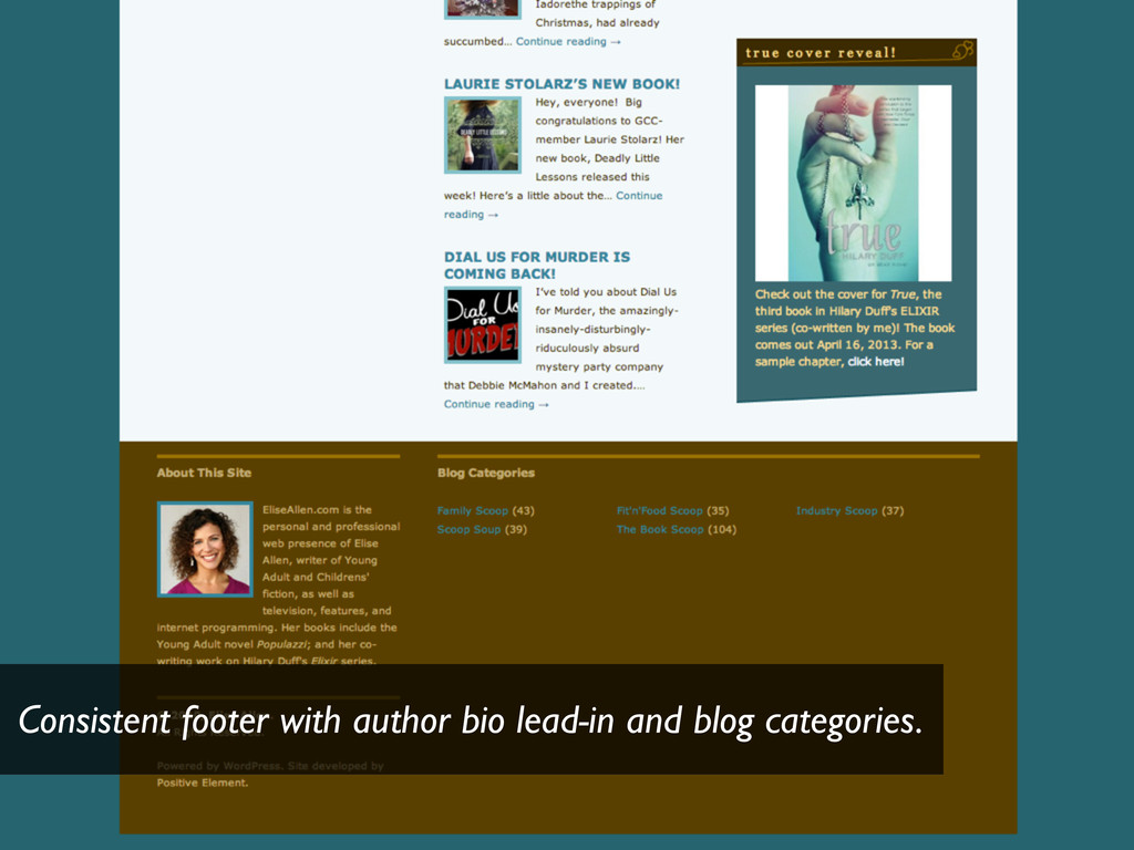 Consistent footer with author bio lead-in and b...
