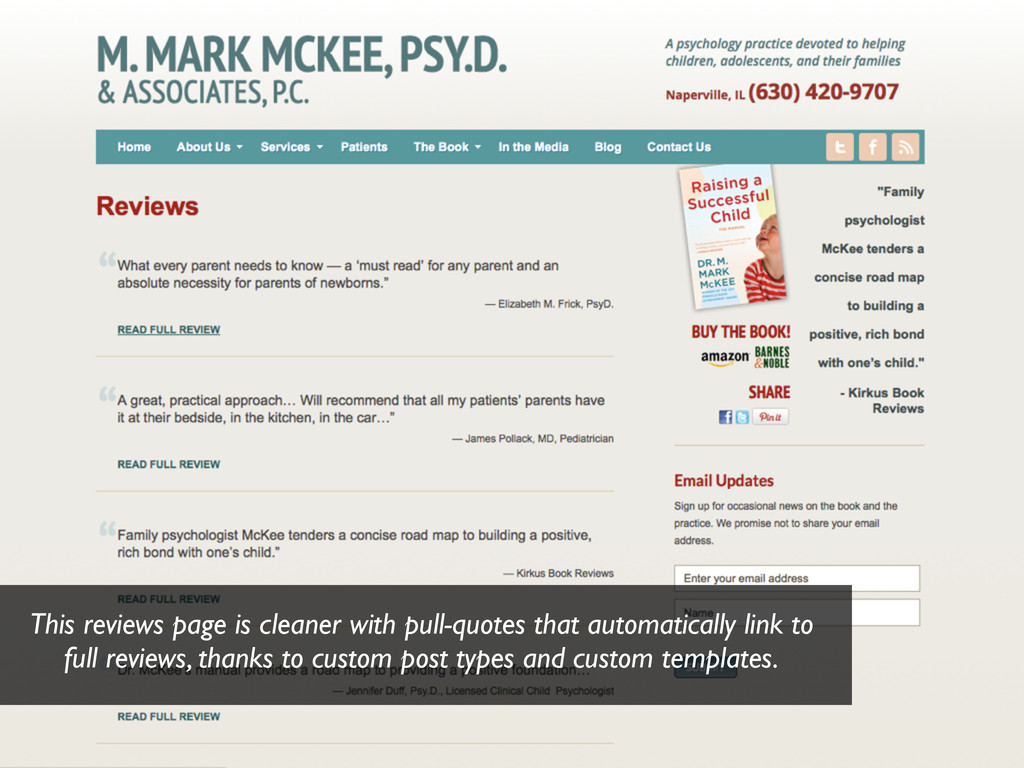 This reviews page is cleaner with pull-quotes t...