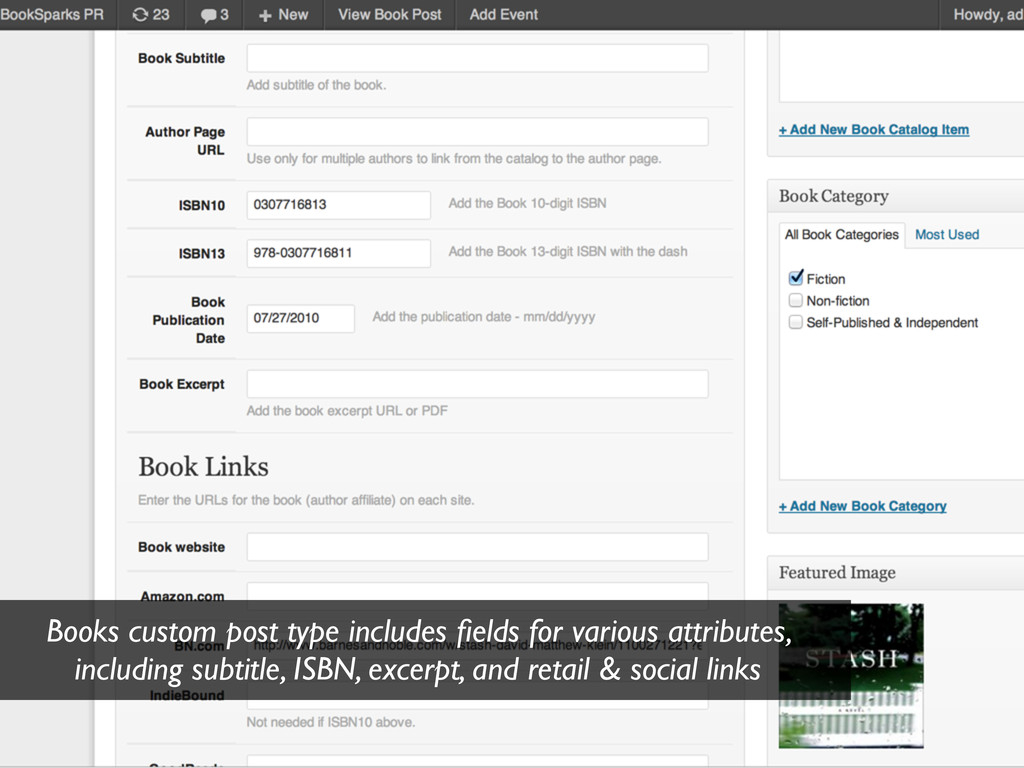 Books custom post type includes fields for vario...