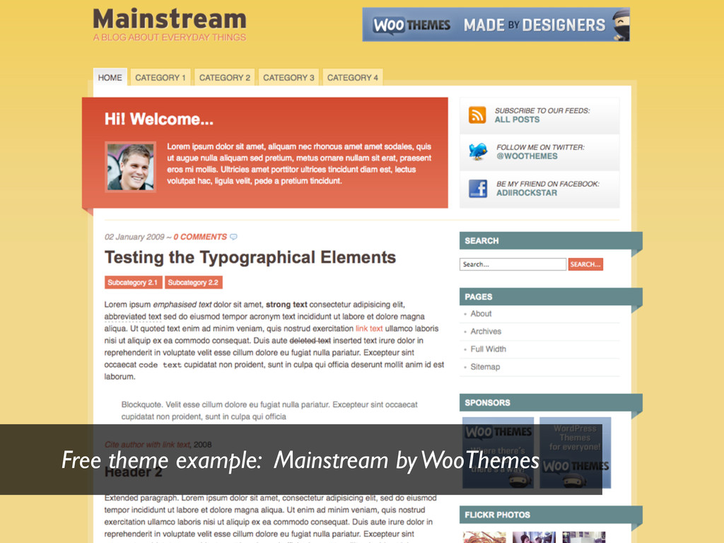 Free theme example: Mainstream by WooThemes
