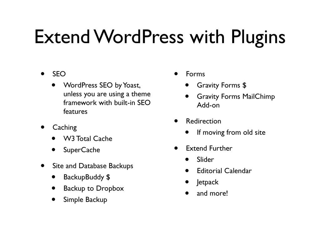 Extend WordPress with Plugins • SEO • WordPress...