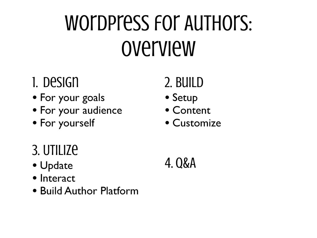 WordPress for Authors: Overview 1. Design • For...