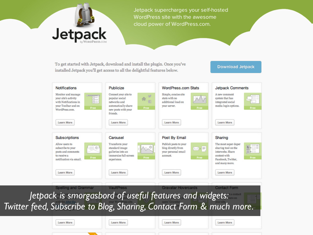 Jetpack is smorgasbord of useful features and w...