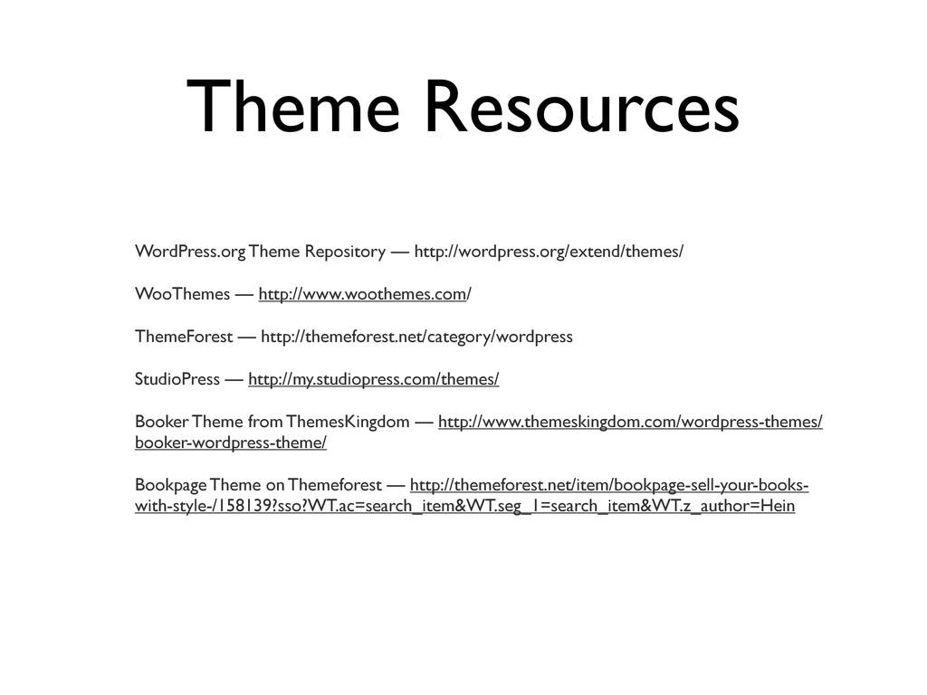 Theme Resources WordPress.org Theme Repository ...